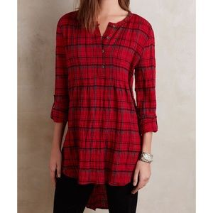 Anthropologie Holding Horses Plaid Tunic Top Sz S